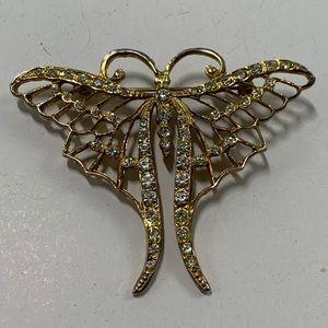Vintage Swallowtail Butterfly Brooch Rhinestones